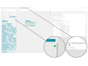 chấm trạng thái màu xanh lục trong cột Scripts bên cạnh mBot